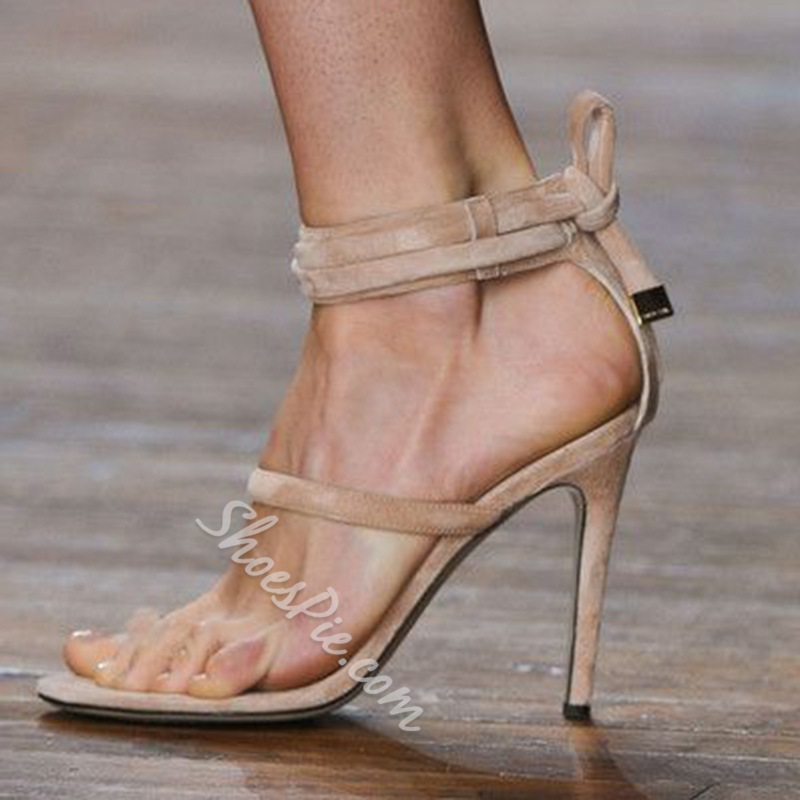 Shoespie Nude Back Ankle Lace Up Sandals