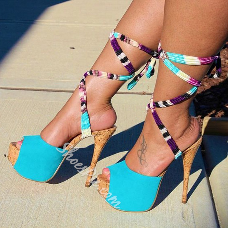 Shoespie Beach Time Lace Up Platform Sandals