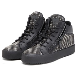 Shoespie Black Tiny Rivets Men's Sneakers