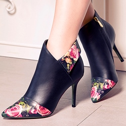 Shoespie Chic Flower Print Ankle Boots