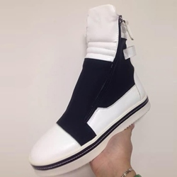 Shoespie Black and White Zipper Sneaker Boots