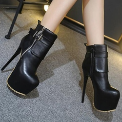 Shoespie Elegant Black Buckle Platform High Heel Ankle Boots