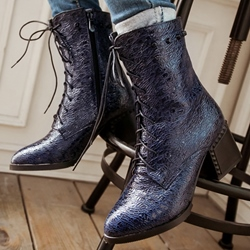 Shoespie High Quality Embossed Leather Lace Up Martin Boots