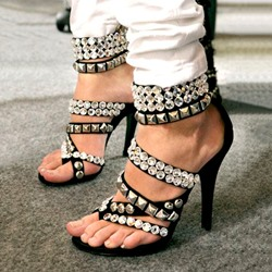 Shoespie Chic Punk Style Rivets Rhinestone Appliqued Dress Sandals