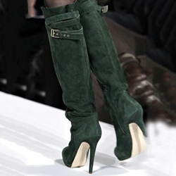 Fashionable Dark Green Suede Side Buckle Knee High Boots