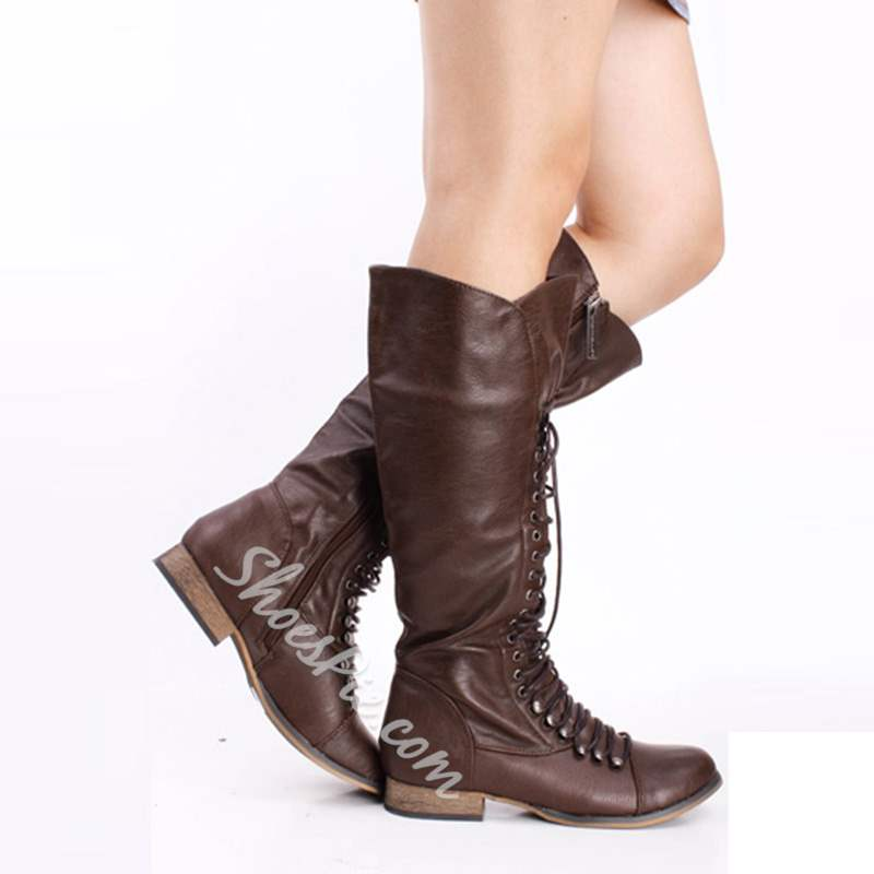Shoespie Lace-Up Vintage Mid Calf Boots