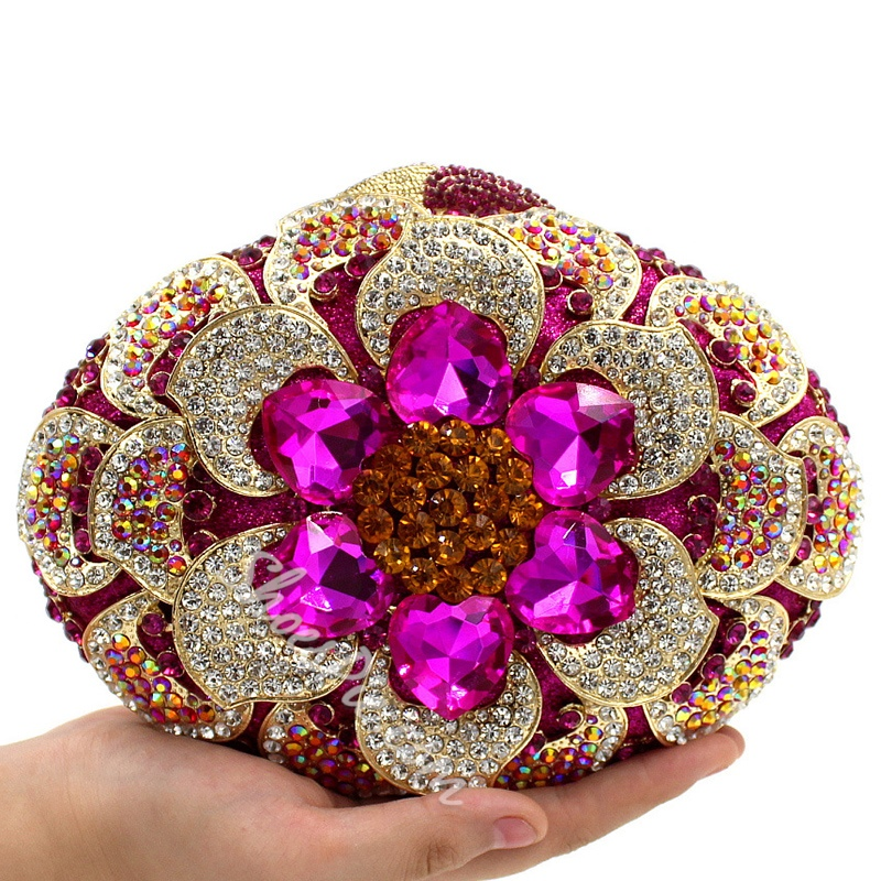 Shoespie Rose Flower Rhinestone Appliqued Clutch
