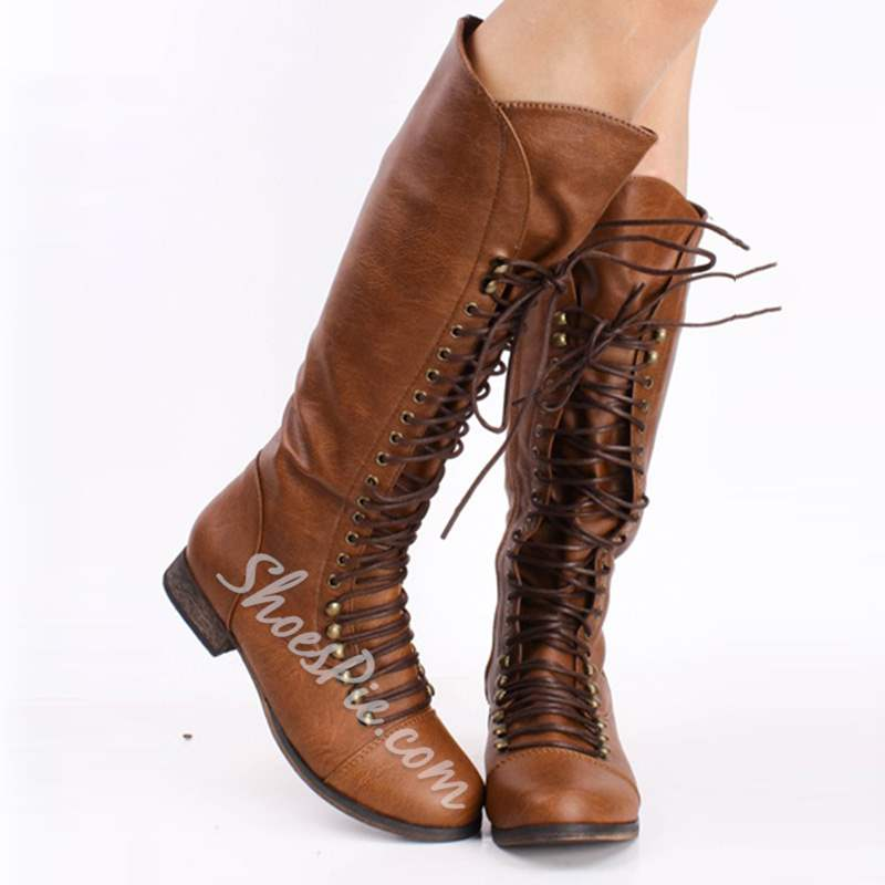 Cool Show Coppy Leather Lace-Up Knee High Boots- Shoespie.com
