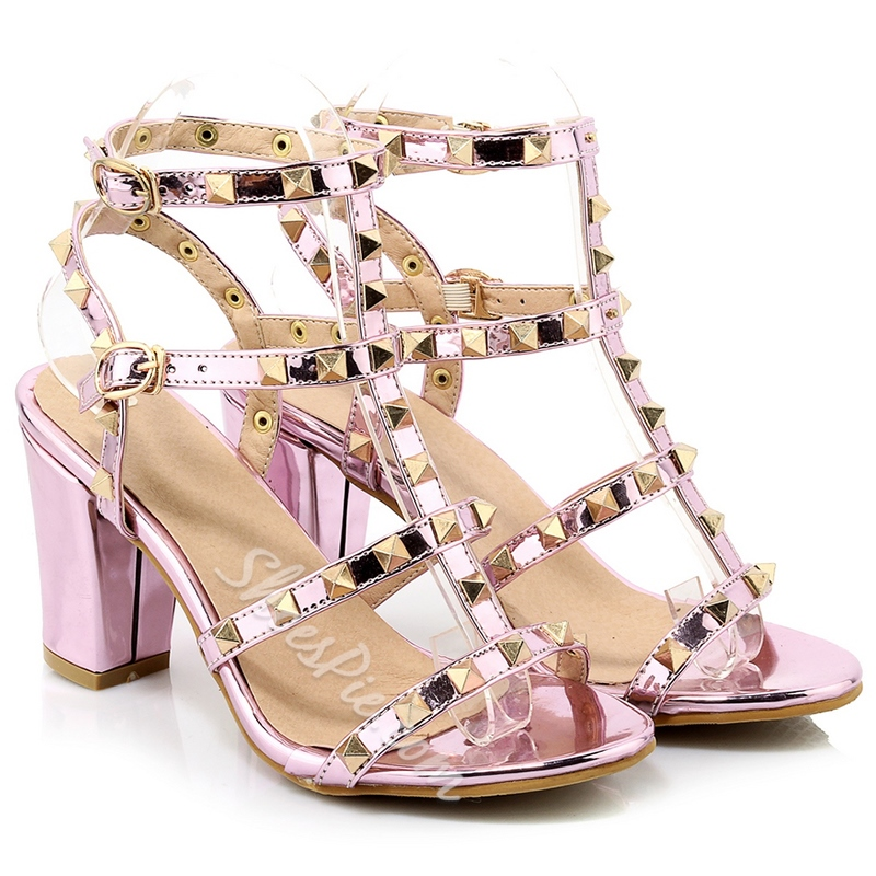 Shoespie Chunky Heel Rivets Sandals