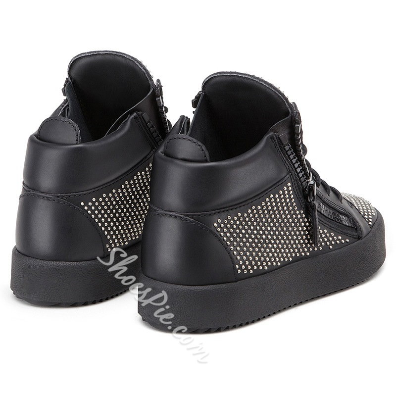 Shoespie Black Tiny Rivets Zipper Men's Sneakers