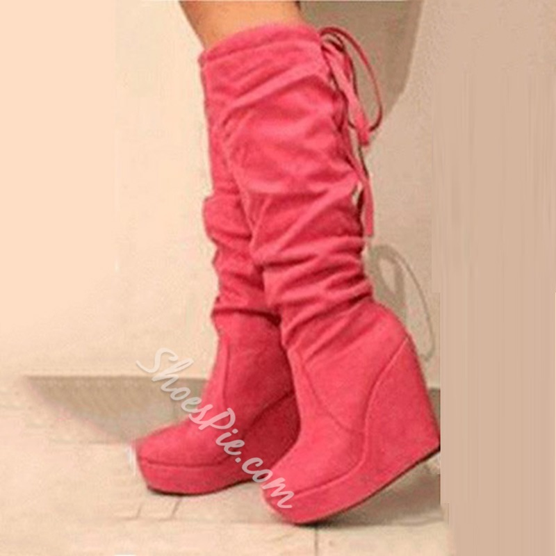 Fashionable Suede Wedge Heel Knee High Boots