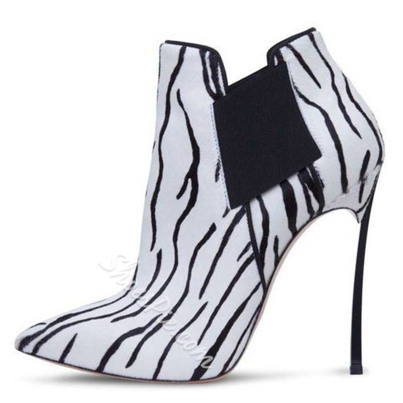 Shoespie Classy Animal Print Ankle Boots