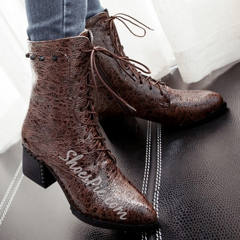 Shoespie High Quality Embossed Lace Up Martin Boots