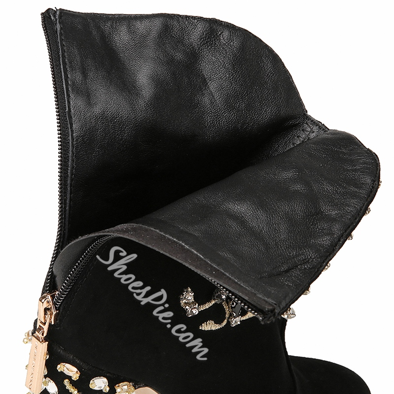Shoespie Luxurious Metal Flower Appliqued Ankle Boots
