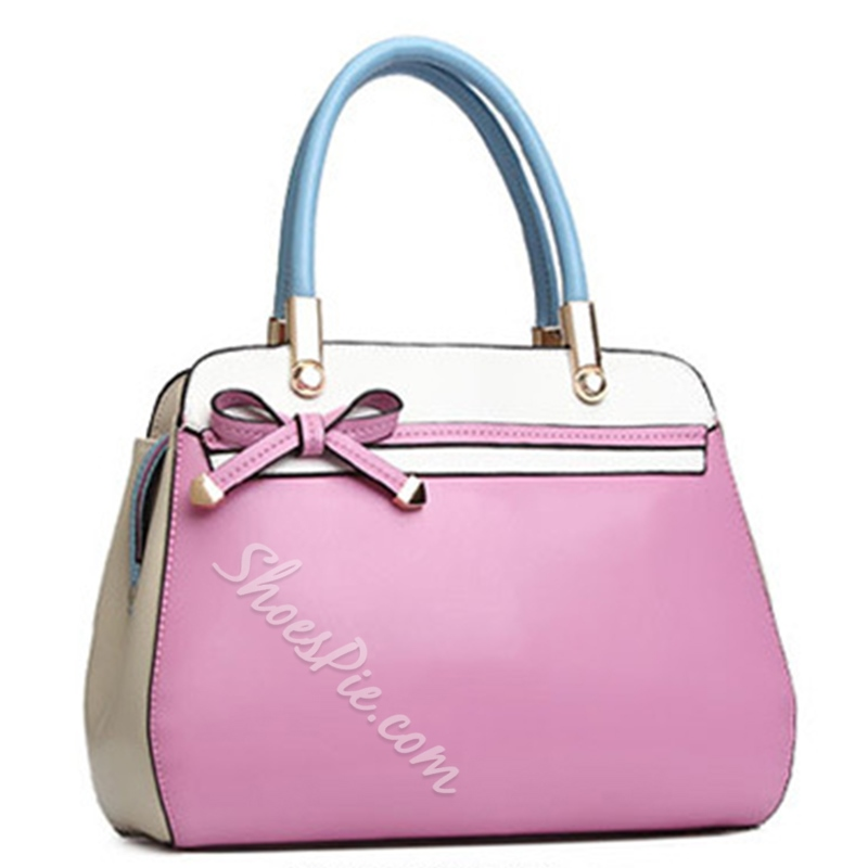 Shoespie Chic Contrast Color Knot Handbag