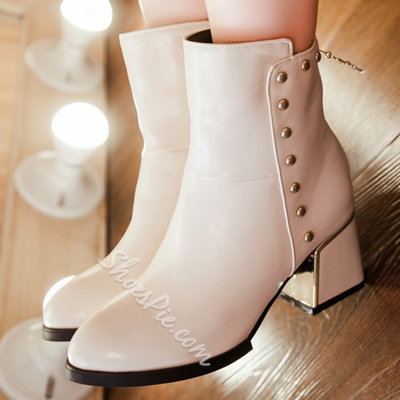 Shoespie Rivets Closed Toe Chunky Heel Ankle Boots