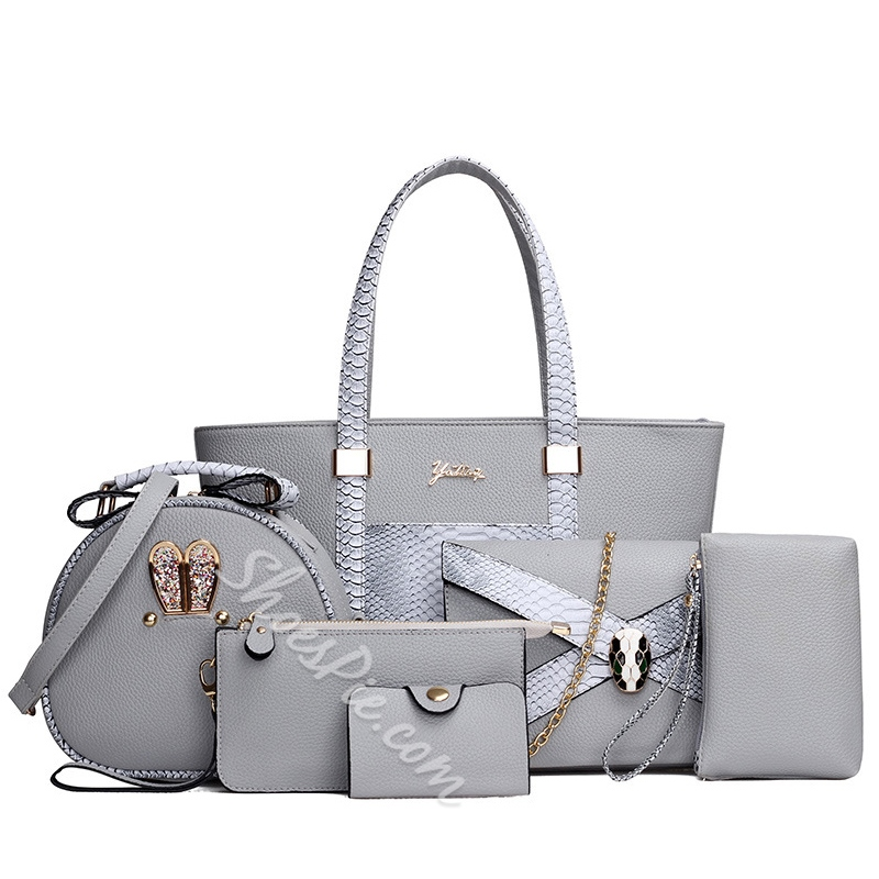 Shoespie Gray Snake Pattern Bag Sets