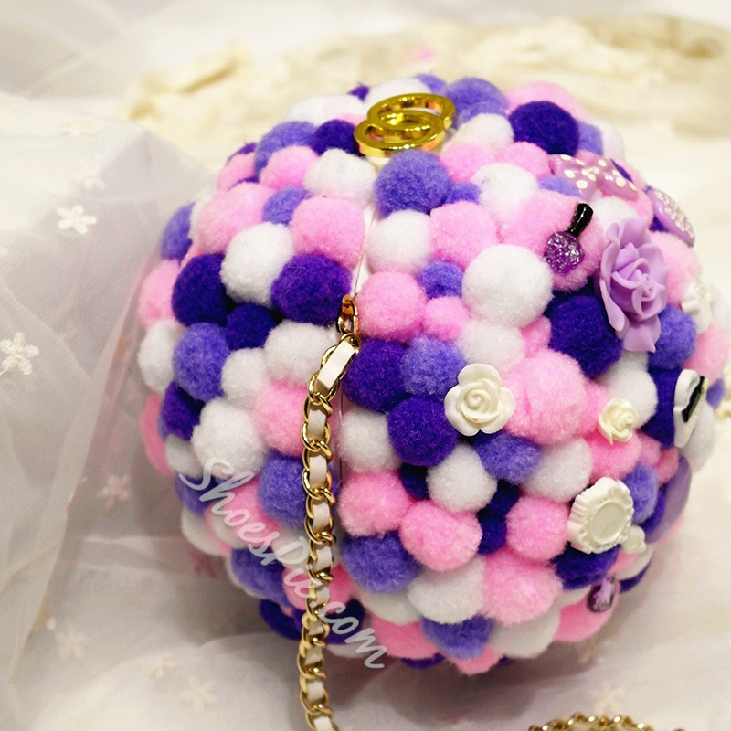 Shoespie Sweet Pompom Accented Handbag