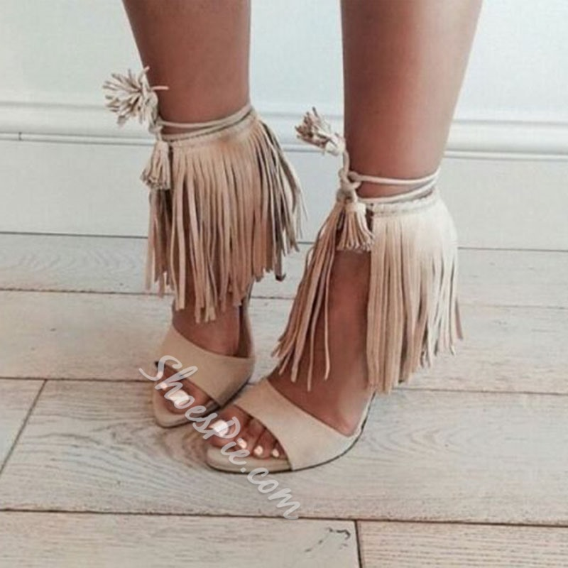 Shoespie Classy Apricot Tassels Open Toe Dress Sandals