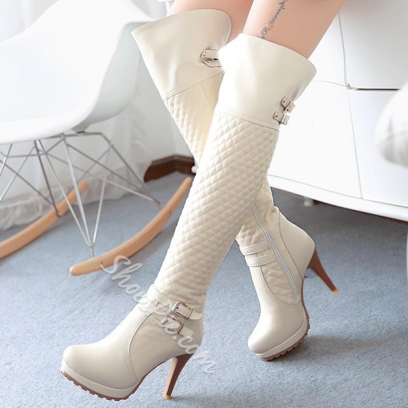 Shoespie High Quality Plaid Knee High Boots