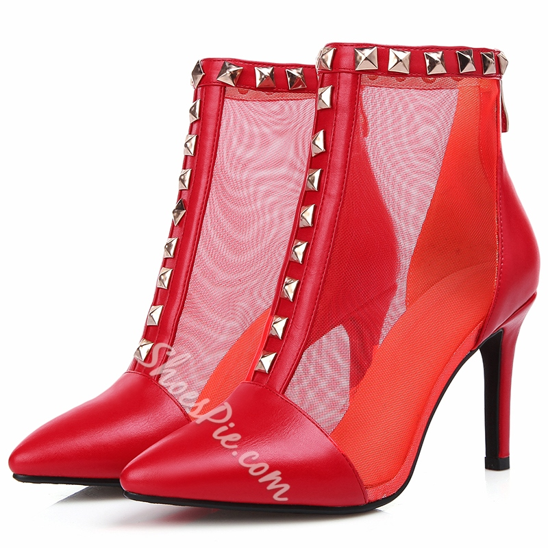 Shoespie Stylish Rivets Mesh Patchwork Ankle Boots