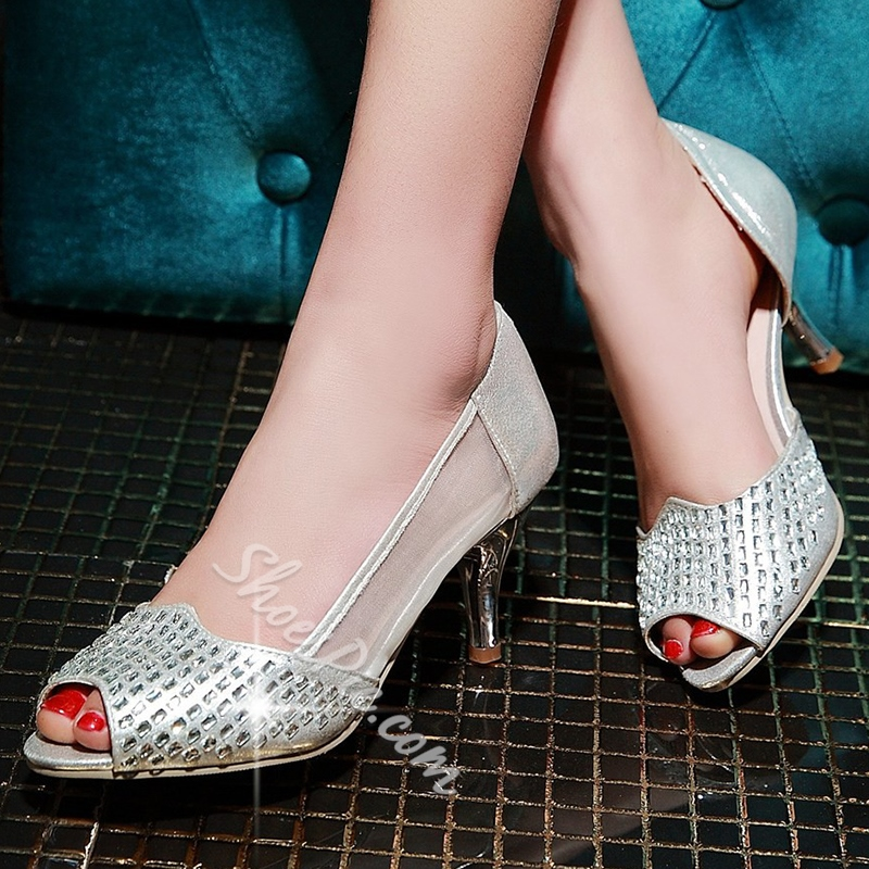 Shoespie Sequined Peep Toe Low Heels