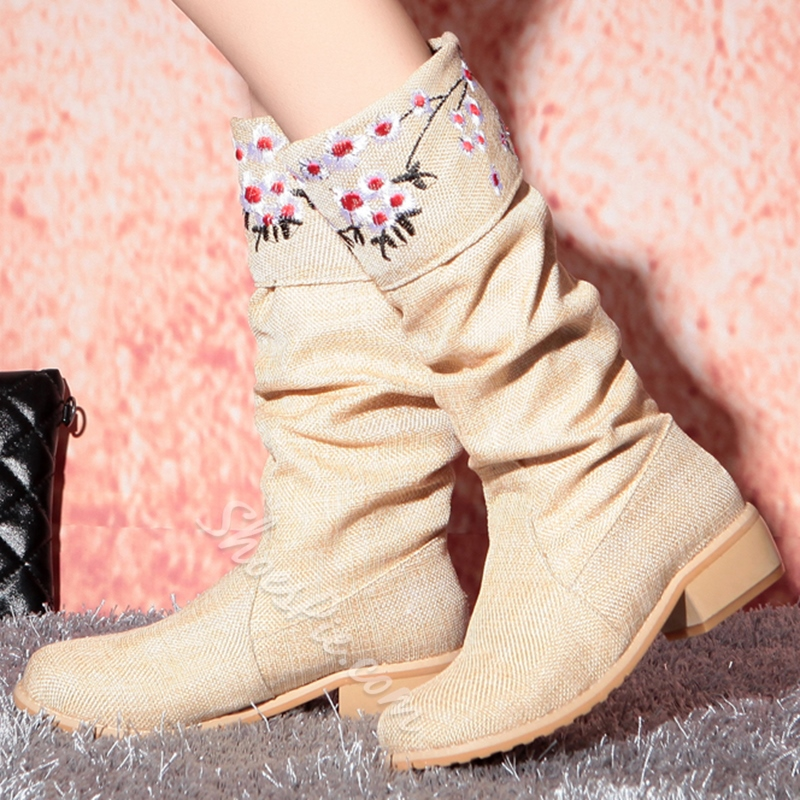 Shoespie Sweet Printed Linen Round Toe Flat Boots