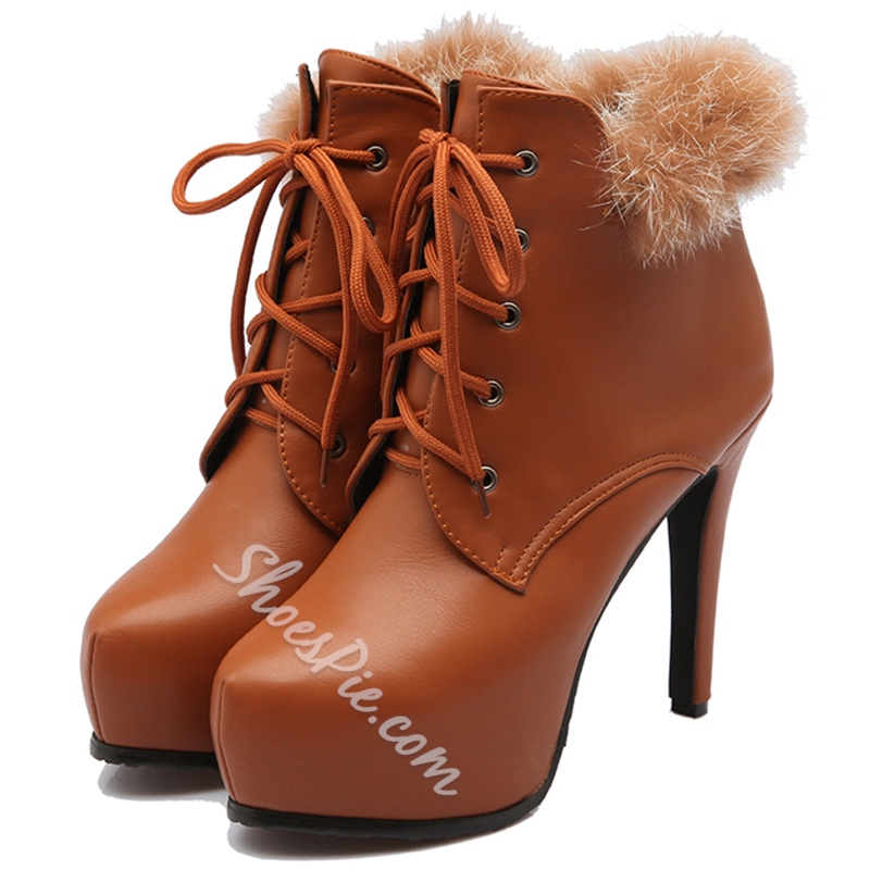 Shoespie Elegant Furry Solid Color Stiletto Heel Ankle Boots