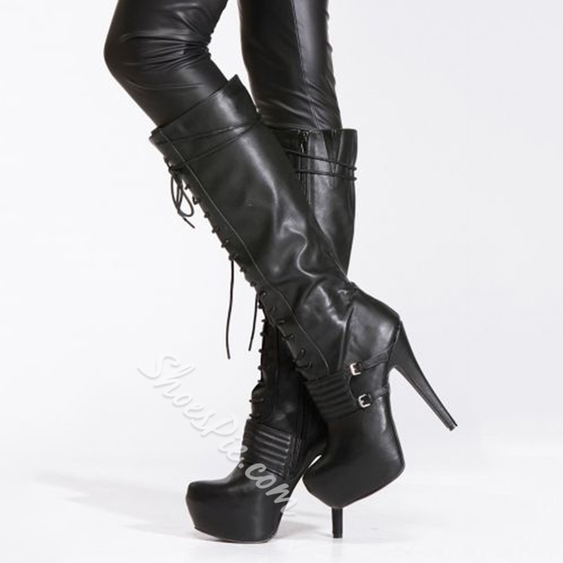Shoespie Privileged Buckle & Lace Up Knee High Motorcycle Boots