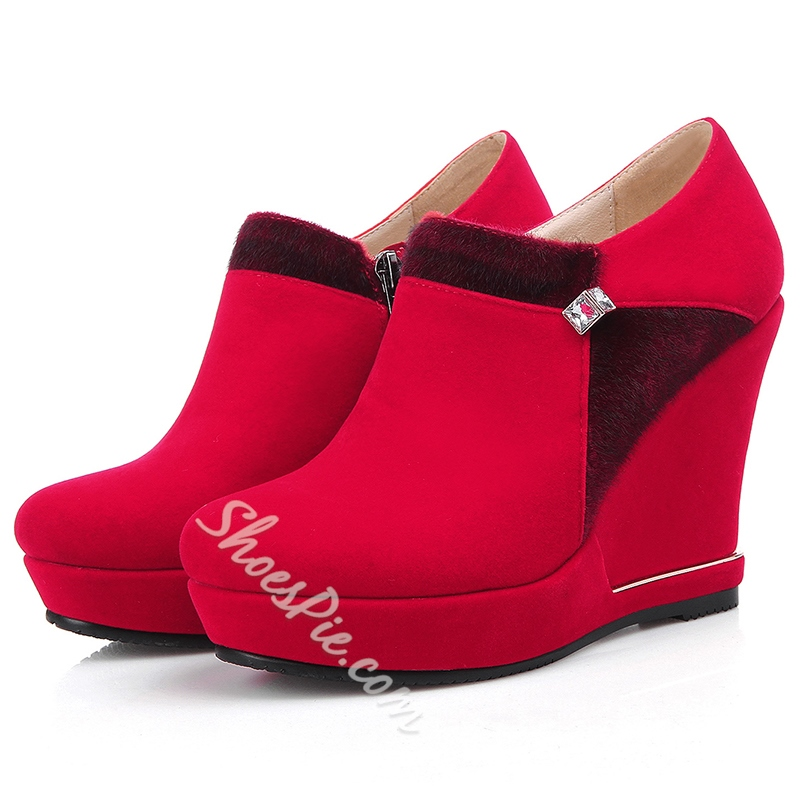 Shoespie Soft Leather Wedge Heel Ankle Boots