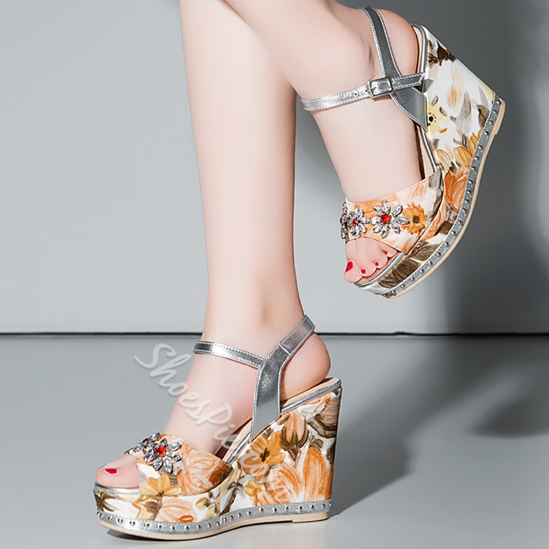 Shoespie Elegant Flower Print Wedge Sandals