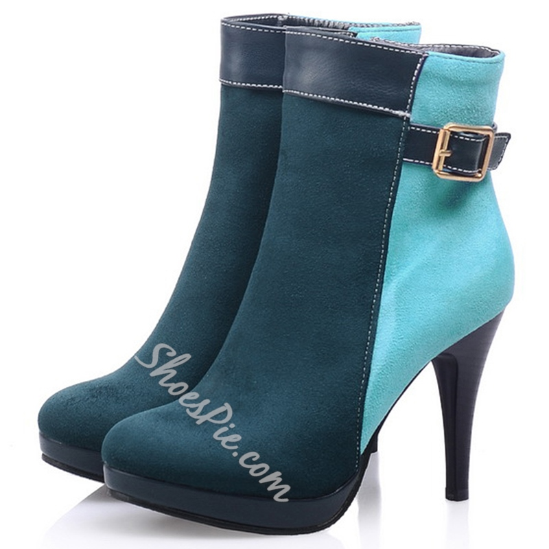 Shoespie Fashion Color Block Buckle Stiletto Heel Ankle Boots