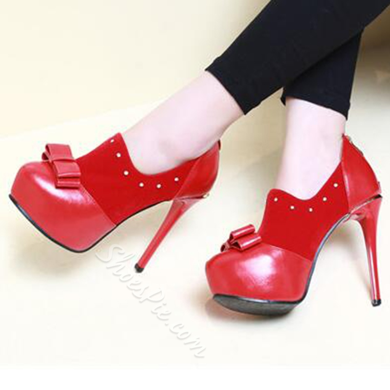 Shoespie Sweet Bow Patchwork Platform Heels