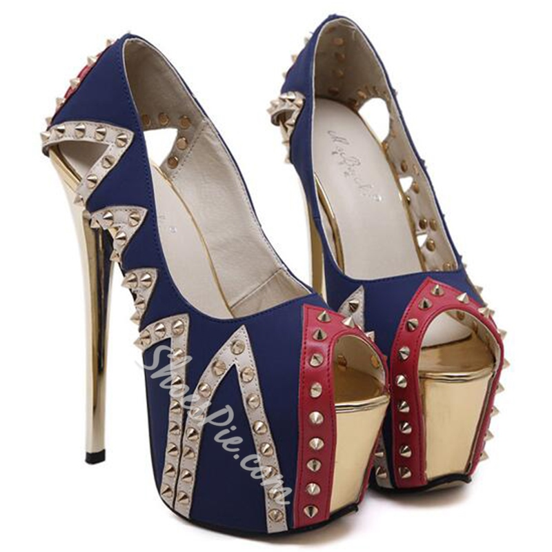 Shoespie Blue Sequined Rivet Peep Toe Platform Heels