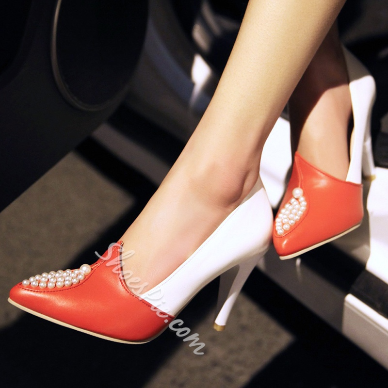 Shoespie Chic Color Block Beaded Stiletto Heels