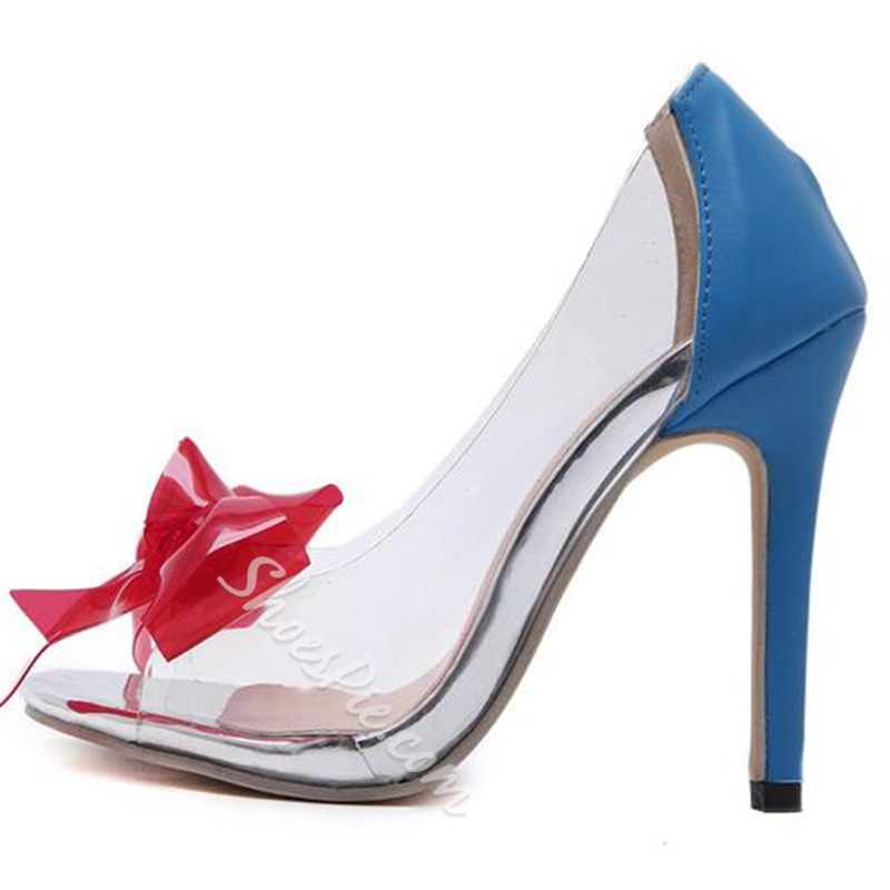 Shoespie PVC Bow Stiletto Heels