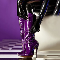 Shoespie Stylish Dark Purple Buckle Sky High Knee High Boots