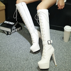 Shoespie Plain Lace Up Buckle Martin Boots