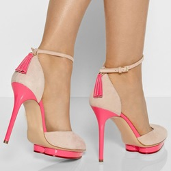 Shoespie Awesome Sweet Contrast Color Ankle Wrap Stiletto Heels