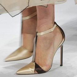 Shoespie Runway Golden Patchwork T Bar Stiletto Heels