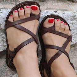 Shoespie Cross Strappy Flat Sandals