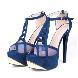 Shoespie Cut outs Ankle Wrap Platform Heels