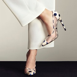 Shoespie Elegant Beige Polk Dot Mesh Stiletto Heels