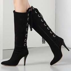 Shoespie Awesome Lace Up Pointed Toe Knee High Boots