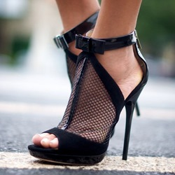 Shoespie Black Mesh and Bow Dress Sandals