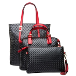 Shoespie Chic Black Color Block Bag Sets