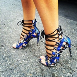Shoespie Blue Lace Up Sandals