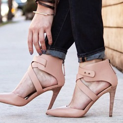 Shoespie Nude Cross Strap Stiletto Heels