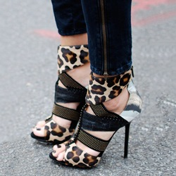 Shoespie Soft Leather Leopard Print Peep Toe Stiletto Heels