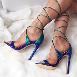 Shoespie Peacock Lace Up Sandals